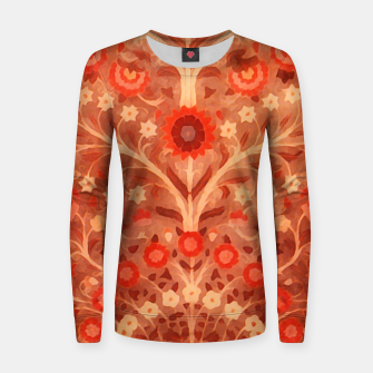 Miniaturka Antique  Indian Textile design in oranges Women sweater, Live Heroes