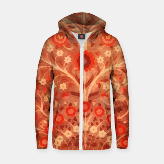 Miniaturka Antique  Indian Textile design in oranges Zip up hoodie, Live Heroes