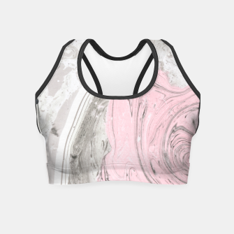 Pink and gray marble Crop Top thumbnail image