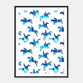 Miniatur Watercolour Showjumping Horses (Blue) Framed poster, Live Heroes