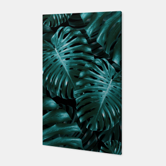 Thumbnail image of Tropical Monstera Jungle Night Leaves Pattern #1 #tropical #decor #art  Canvas, Live Heroes