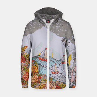 Thumbnail image of Wind blow Zip up hoodie, Live Heroes