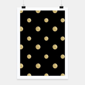 Thumbnail image of Happy Polka Dots Gold on Black #1 #decor #art  Plakat, Live Heroes
