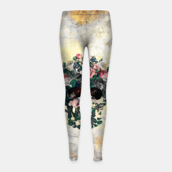 Rose Garden Skull Girl's leggings Bild der Miniatur