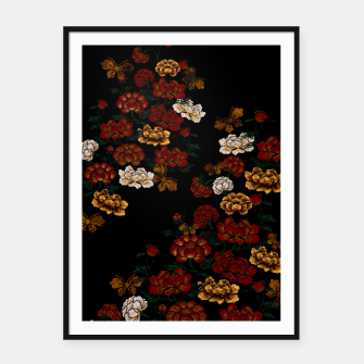 Thumbnail image of Peony and Butterfly emblem Framed poster, Live Heroes