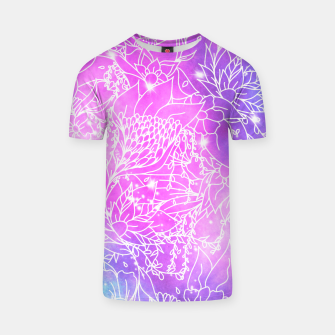 Thumbnail image of Modern white floral illustration on purple blue pink nebula space watercolor T-shirt, Live Heroes