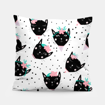 Thumbnail image of Modern cute whimsical floral cats pattern watercolor scandinavian style Pillow, Live Heroes