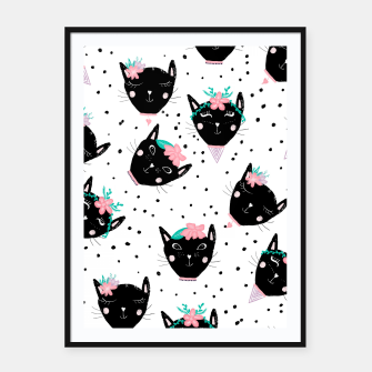 Miniaturka Modern cute whimsical floral cats pattern watercolor scandinavian style Framed poster, Live Heroes