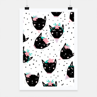 Miniaturka Modern cute whimsical floral cats pattern watercolor scandinavian style Poster, Live Heroes