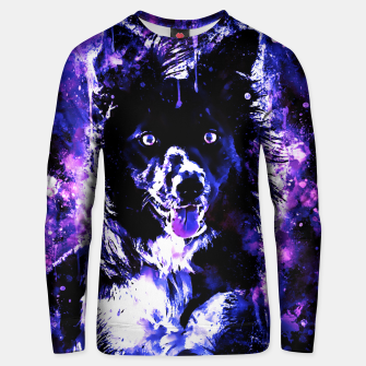 Thumbnail image of border collie dog lying down watercolor splatters cool blue purple Unisex sweater, Live Heroes