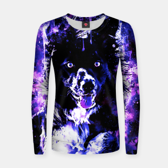 Thumbnail image of border collie dog lying down watercolor splatters cool blue purple Women sweater, Live Heroes