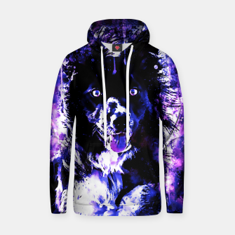 Thumbnail image of border collie dog lying down watercolor splatters cool blue purple Hoodie, Live Heroes