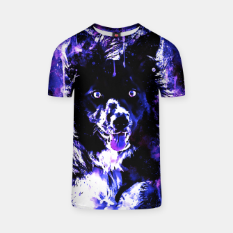 Thumbnail image of border collie dog lying down watercolor splatters cool blue purple T-shirt, Live Heroes