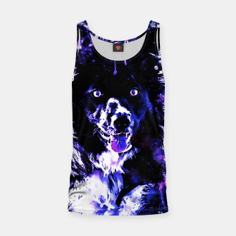 Thumbnail image of border collie dog lying down watercolor splatters cool blue purple Tank Top, Live Heroes