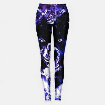 Thumbnail image of border collie dog lying down watercolor splatters cool blue purple Leggings, Live Heroes