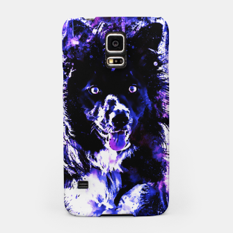 Thumbnail image of border collie dog lying down watercolor splatters cool blue purple Samsung Case, Live Heroes