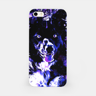 Thumbnail image of border collie dog lying down watercolor splatters cool blue purple iPhone Case, Live Heroes