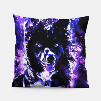 Thumbnail image of border collie dog lying down watercolor splatters cool blue purple Pillow, Live Heroes
