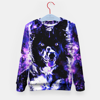 Thumbnail image of border collie dog lying down watercolor splatters cool blue purple Kid's sweater, Live Heroes