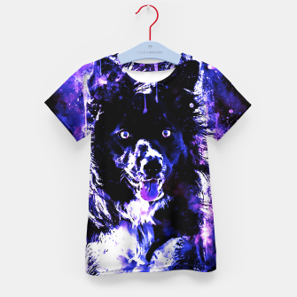 Thumbnail image of border collie dog lying down watercolor splatters cool blue purple Kid's t-shirt, Live Heroes