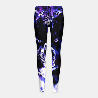 Thumbnail image of border collie dog lying down watercolor splatters cool blue purple Girl's leggings, Live Heroes