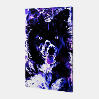 Thumbnail image of border collie dog lying down watercolor splatters cool blue purple Canvas, Live Heroes