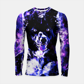 Thumbnail image of border collie dog lying down watercolor splatters cool blue purple Longsleeve rashguard , Live Heroes
