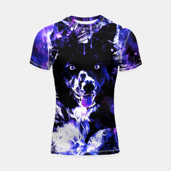Thumbnail image of border collie dog lying down watercolor splatters cool blue purple Shortsleeve rashguard, Live Heroes