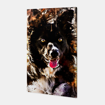 Thumbnail image of border collie dog lying down watercolor splatters Canvas, Live Heroes