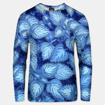 Thumbnail image of Lovely Leaves, in Blue Unisex sweater, Live Heroes