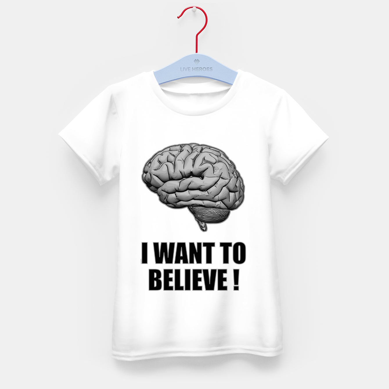 Image of I WANT TO BELIEVE BRAIN ILLUSTRATED MESSAGE T-Shirt für kinder - Live Heroes
