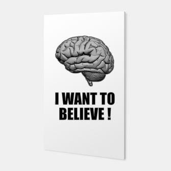 I WANT TO BELIEVE BRAIN ILLUSTRATED MESSAGE Canvas thumbnail image