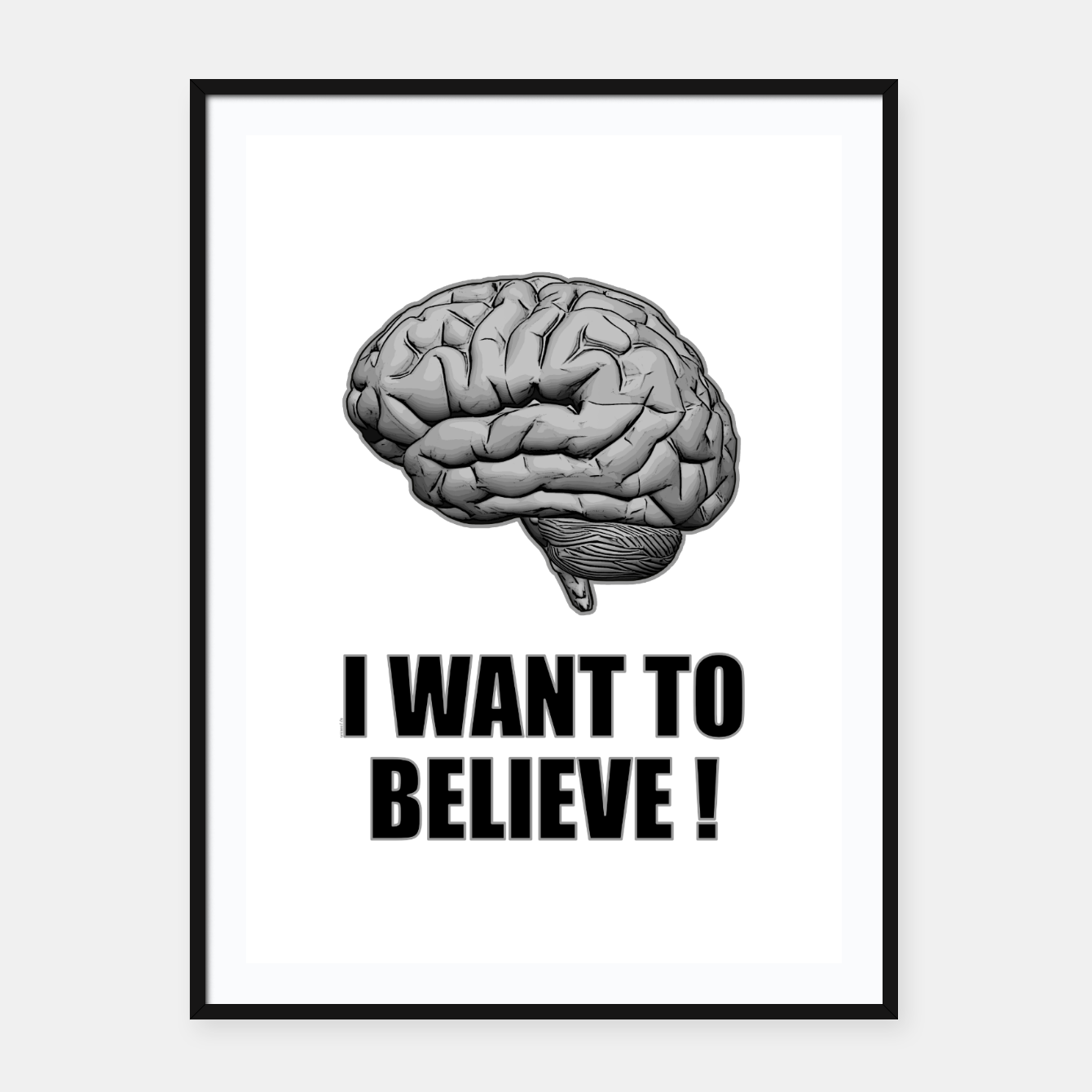 Image of I WANT TO BELIEVE BRAIN ILLUSTRATED MESSAGE Plakat mit rahmen - Live Heroes