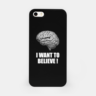 I WANT TO BELIEVE BRAIN ILLUSTRATED MESSAGE iPhone-Hülle thumbnail image