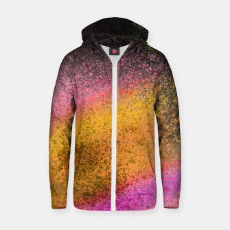 Thumbnail image of Yellow Pink Black Spray Paint Zip up hoodie, Live Heroes