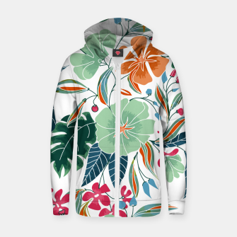Thumbnail image of Minty and Rust Floral Zip up hoodie, Live Heroes