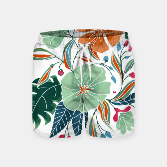Thumbnail image of Minty and Rust Floral Swim Shorts, Live Heroes