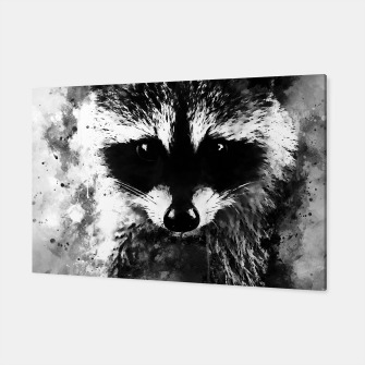 Miniatur raccoon watercolor splatters black white Canvas, Live Heroes