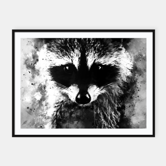 Miniatur raccoon watercolor splatters black white Framed poster, Live Heroes