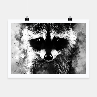 Miniatur raccoon watercolor splatters black white Poster, Live Heroes