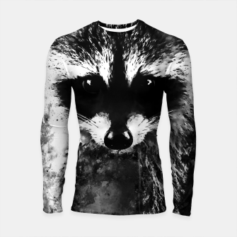 Miniatur raccoon watercolor splatters black white Longsleeve rashguard , Live Heroes