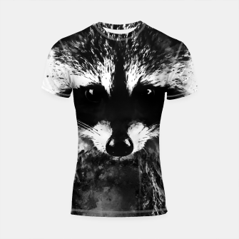 Miniatur raccoon watercolor splatters black white Shortsleeve rashguard, Live Heroes