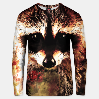 Miniatur raccoon watercolor splatters sepia Unisex sweater, Live Heroes
