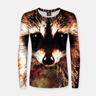 Miniatur raccoon watercolor splatters sepia Women sweater, Live Heroes