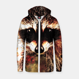 Miniatur raccoon watercolor splatters sepia Zip up hoodie, Live Heroes