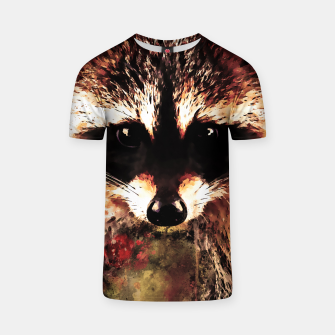 Miniatur raccoon watercolor splatters sepia T-shirt, Live Heroes