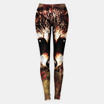 Miniatur raccoon watercolor splatters sepia Leggings, Live Heroes