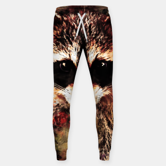 Miniatur raccoon watercolor splatters sepia Sweatpants, Live Heroes