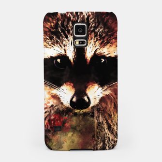 Miniatur raccoon watercolor splatters sepia Samsung Case, Live Heroes