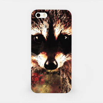 Miniatur raccoon watercolor splatters sepia iPhone Case, Live Heroes